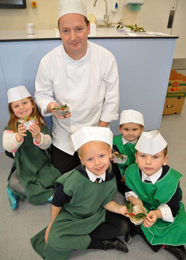 Pupils from Manorside Academy with Chef Peter Knighton from the Marsham Court Hotel